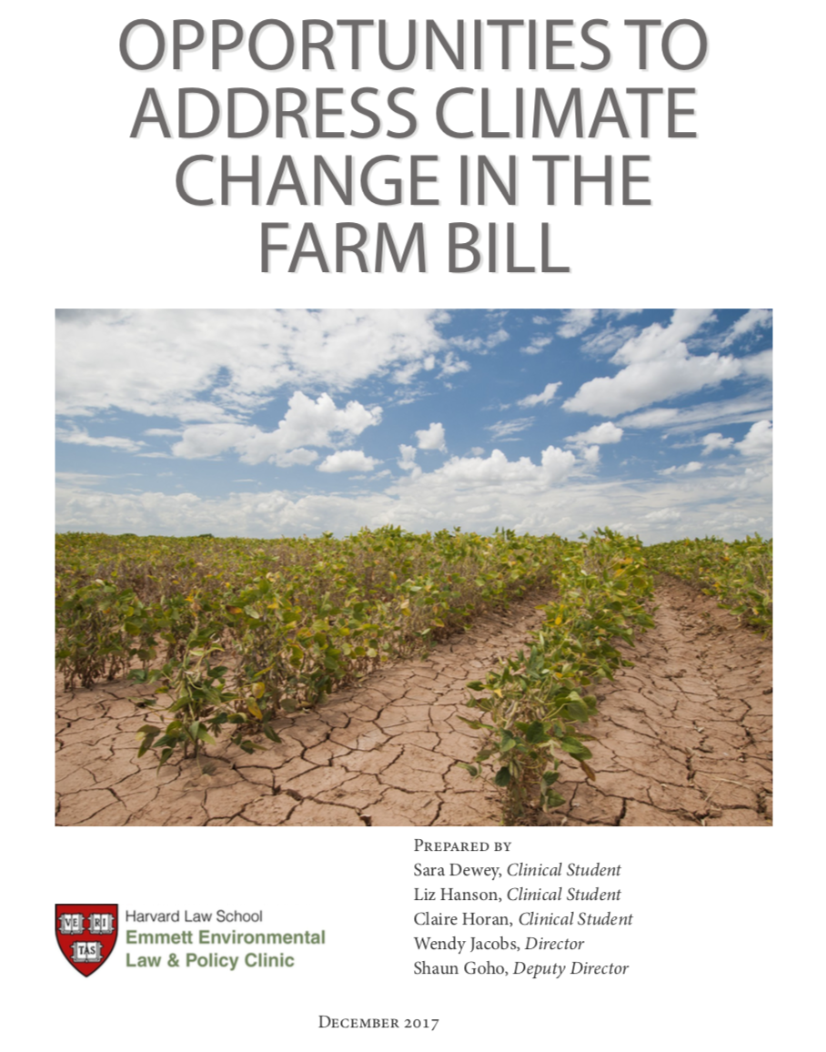 Opportunities to Address Climate Change in the Farm Bill